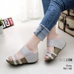 รองเท้าแฟชั่น ส้นเตารีด แบบสวม ดีไซน์เก๋ หนัง pu เกรดนิ่ม ใส่แล้วฟินเบา ทรงสวยเก็บหน้าเท้า สูงประมาณ 3 นิ้ว ใส่สบาย แมทสวยได้ทุกชุด (961-58)