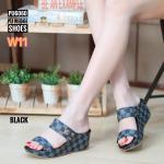 รองเท้าแฟชั่น ส้นเตารีด แบบสวม คาด 2 ตอน แต่งลายตารางดาเมียร์สไตล์ LV สวยเก๋ ใส่สบาย แมทสวยได้ทุกชุด (PU6060)