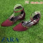 รองเท้าคัทชู ส้นเตี้ย สวยหรู สไตล์ ZARA แต่งขอบทอง รัดข้อ ตะขอเกี่ยวใส่ง่าย พื้นบุนุ่ม ส้นตัด เดินสบาย สูงประมาณ 2 นิ้ว งานสวย ใส่สบาย แมทได้ทุหกชุด