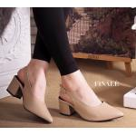 รองเท้าคัทชู ส้นเตี้ย รัดส้น เรียบเก๋ หนัง PU อย่างดีนิ่ม ทรงหัวแหลมดูเท้าเรียว รัดส้นตะขอเกี่ยวใส่ง่าย พื้นบุนิ่ม ใส่สบาย ส้นตัดเดินง่าย สูง 2 นิ้ว แมทสวยได้ ทุกชุด (FT-287)