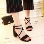 รองเท้าแฟชั่น สไตล์วาเลนติโน สายไขว้พันข้อเท้าสวยเก๋ หนังสักหราด หน้าเรียวสวยโดนใจ สูง 2.5 นิ้ว สีดำ เทา (051)