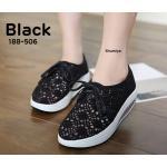 รองเท้าผ้าใบ สวยน่ารัก ผ้าลูกไม้สวยหวานแต่งเชือกผูกด้านหน้า เสริมส้นประมาณ 2 นิ้ว พื้นเสมอ ใส่สบาย แมทสวยได้ทุกชุด (188-506)