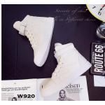 รองเท้าผ้าใบหุ้มข้อแฟชั่น สไตล์เกาหลี สวยเท่ห์ หนังนิ่มแต่งผ้าลาย สายคาด รัดข้อแบบเมจิกเทป ใส่ง่าย พื้นหนา 1 นิ้ว ใส่นิ่มสบาย น้ำหนักเบา แมทเก๋ได้ทุก สไตล์ สีขาว ดำ ชมพู ฟ้า (W920)