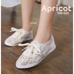 รองเท้าคัทชู ทรงผ้าใบ สไตล์เกาหลี ลูกไม้สวยหวาน แต่งเชือกผูกด้านหน้า พื้นยางอย่าง ดี ใส่สบาย แมทสวยได้ทุกชุด (188-635)