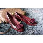 รองเท้าคัทชู ส้นแบน สวยเก๋ หนังเงาลายหนังงูหรูดูดี แต่งโบว์สีสวยลงตัว พื้นบุนิ่ม ใส่ สบาย แมทสวยได้ทุกชุด สีแดง น้ำเงิน (F-59212)