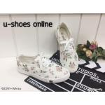 รองเท้าผ้าใบ ทรง Ked's งานลายผ้าดอกไม้ งานสวย แบบน่ารัก ทรงกว้างใส่สบาย แมทสวยได้ทุกชุด (92291)