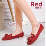 รองเท้าคัทชู ส้นแบน สวยเก๋ หนังสักหราดดูดี แต่งอะไหล่ทองพู่หนังเก๋มาก ใส่ สบาย แมทสวยได้ทุกชุด (2015-5)