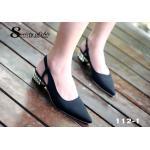รองเท้าคัทชู ZARA Top Basic หรูปราดเปรียว ส้นเพชร งานขายดีไม่มีเอาท์ ใส่ได้ตลอดกาล หนังนิ่ม สายรัดร้อยางยืด หัวแหลมใส่แล้วเท้าดูเรียว สูง 1 นิ้ว