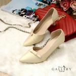 รองเท้าคัทชู ส้นเตี้ย สวยเก๋ แต่งโบว์หน้า เว้าข้าง ทรงสวยเพรียว ส้นประมาณ 2 นิ้ว ใส่ สบาย แมทสวยได้ทุกชุด (G18-25)