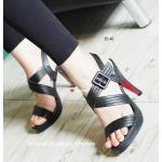 รองเท้าแฟชั่น ส้นสูง Slide Heels Shoes งานสวยสไตล์เกาหลี รุ่นนี้ทรง สวยมาก รับกับเรียวเท้าอย่างดี วัสดุเป็นหนังนุ่ม ดีไซน์สายไขว้เก็บเท้าสวย เก๋ไม่มีเอาท์ ใส่ได้ตลอด ส้น 4 นิ้วเสริมหน้าประมาณ 1 นิ้ว สีดำ น้ำตาล ครีม (85180)