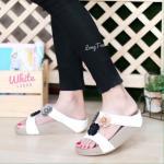 รองเท้าแตะแฟชั่น เพื่อสุขภาพ แบบสวม แต่งดอกไม้น่ารัก พื้นซอฟคอมฟอตนิ่มสไตล์ฟิตฟลอบ ใส่สบาย แมทสวยได้ทุกชุด (L2806)