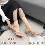 รองเท้าคัทชู ส้นสูง รัดส้น หนังเงาแต่งหมุดสไตล์วาเลนติโนสวยเก๋ ทรงสวย หนังนิ่ม ส้นสูงประมาณ 3.5 นิ้ว ใส่สบาย แมทสวยได้ทุกชุด (K9102)