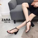 รองเท้าแฟชั่น ส้นสูง รัดข้อ หนังสักหราดแต่งคาดพลาสติกใสนิ่มด้านหน้าสวยเก๋ ส้นสูงประมาณ 2.5 นิ้ว ใส่สบาย แมทสวยได้ทุกชุด (1332-42)