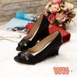 รองเท้าคัทชู ส้นเตารีด เรียบเก๋ ทรงสวย เปิดนิ้ว แต่งไขว้ด้านหน้า ส้นสูงประมาณ 2.5 นิ้ว ใส่สบาย แมทสวยได้ทุกชุด (G5-216)