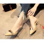 รองเท้าคัทชู เปิดส้น แต่งอะไหล่สวยเก๋ดูดี ทรงสวย ใส่สบาย ส้นสูงประมาณ 2 นิ้ว แมทสวยได้ทุกชุด (A66)