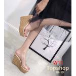 รองเท้าแฟชั่น ส้นเตารีด แบบสวม คาดหน้าพลาสติกใสนิ่มสวยอินเทรนด์ ส้นลายไม้เก๋ๆ สไตล์ Top shop ส้นสูงประมาณ 5 นิ้ว เสริมหน้า 2 นิ้ว ใส่สบาย แมทสวยได้ทุกชุด (ฺ18-19)