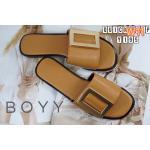 รองเท้าแตะแฟชั่น แบบสวม แต่งเข็มขัดทองด้านหน้าสไตล์ boyy สวยเก๋ วัสดุอย่างดี ใส่สบาย แมทสวยได้ทุกชุด (Y195)