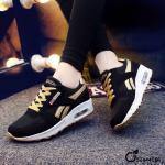 รองเท้าผ้าใบแฟชั่น สวยเทห์ เสริมส้น งานนำเข้า ตัวรองเท้าแต่งแถบสีเชือกสี ใส่เล่นกีฬา ใส่เที่ยว สูง 2 นิ้ว