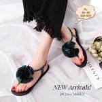 รองเท้าแตะแฟชั่น แบบหนีบ รัดส้น แต่งดอกไม้กลมใหญ่ด้านหน้าสวยเก๋ รัดส้นยางยืด ใส่สบาย สามารถใส่ได้ตลอด ใส่ชิวๆ น่ารักทุกชุด