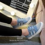 รองเท้าผ้าใบยีนส์ฟอก แบบผูกเชือก สไตล์เกาหลี สุดเท่ห์ ใส่เที่ยว เดินเบาสบาย พื้นเรียบเสมอ ใส่สบาย แมทเก๋ได้ทุกชุด สีฟ้า น้ำเงิน (8008)