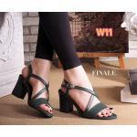 รองเท้าแฟชั่น ส้นสูง รัดส้น แบบสวมหน้าไขว้สวยเก๋ดูเท้าเรียว ส้นตัดสูงประมาณ 2.5 นิ้ว ใส่สบาย แมทสวยได้ทุกชุด