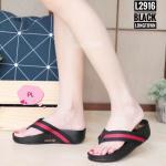 รองเท้าแตะแฟชั่น เพื่อสุขภาพ แบบหนีบ แถบผ้าลายสไตล์กุชชี่สวยเก๋ พื้นซอฟคอมฟอตนิ่มสไตล์ฟิตฟลอบ ใส่สบายมาก แมทสวยได้ทุกชุด (L2916)