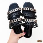 รองเท้าแตะแฟชั่น แบบสวม หนังฉลุลายสีทูโทนสุุดเก๋สไตล์แอร์เมส หนังนิ่ม ทรงสวย ใส่สบาย แมทสวยได้ทุกชุด (mr34)