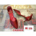 รองเท้าคัทชู ส้นเตี้ย รัดข้อ สายรัดข้ออะไหล่ทองสวยหรู ทรงสวยเพรียว สูงประมาณ 2 นิ้ว ทรงสวย ใส่สบาย แมทสวยได้ทุกชุด (CA8864)