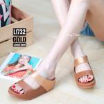 รองเท้าแตะเพื่อสุขภาพ สไตล์ลำลอง แบบสวม วัสดุหนังพียู ตัดสีทูโทน คาดหน้าสองตอน พื้นคอมฟอตนุ่มสไตล์ฟิตฟลอบ ใส่สบาย แมทสวยได้ทุกชุด (L1732)