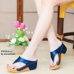 รองเท้าแฟชั่น ส้นเตารีด แบบหนีบ แต่งผ้าซาติน เดินด้ายขอบส้นสวยเรียบเก๋ หนังนิ่ม สูง 2 นิ้ว ใส่สบาย แมทสวยได้ทุกชุด (Pf2193)