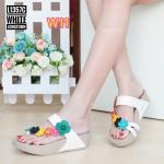 รองเท้าแตะแฟชั่น เพื่อสุขภาพ แบบสวมนิ้วโป้ง คาดเฉียงแต่งดอกไม้น่ารัก พื้นคอมฟอต นิ่มสไตล์ฟิตฟลอบ ใส่สบาย แมทสวยได้ทุกชุด (L1357C)