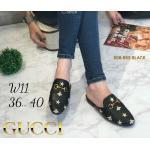 รองเท้าคัทชู เปิดส้น แต่งอะไหล่ลายสไตล์กุชชี่สวยเก๋ หนังนิ่ม ทรงสวย แมทสวยได้ทุกชุด (508-853)