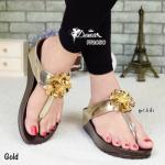 รองเท้าแตะแฟชั่น พื้นเพื่อสุขภาพซอฟคอมฟอต แบบคีมสวยสะดุดตา กับดอกไม้สีเมทาลิกดูดีขับผิวเด่น งานพื้นนุ่มมาก ใส่สบาย สูง 1.5 นิ้ว สีดำ น้ำตาล ทอง เทา (FF2050)