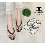 รองเท้าแตะแฟชั่น แบบหนีบ แต่งโซ่ พื้นลายหินอ่อน สวยเก๋ สไตล์ชาแนล ใส่สบาย แมทสวยได้ทุกชุด (J322)