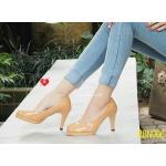 รองเท้าคัทชู ส้นสูง เสริมหน้าสไตล์ Kawaii วัสดุเป็นหนังแก้วเงาสวยสดใส ความสูงประมาณ 3.5 นิ้ว ใส่แล้วเป็นสาวมั่น แมทสวยได้ทุกชุด สีแดง น้ำตาล (bbn006)