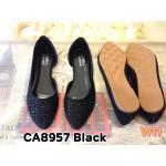 รองเท้าคัทชู ส้นแบน เว้าข้าง แต่งคลิสตัลรอบสวยหรู หนังนิ่ม ใส่สบาย แมทสวยได้ทุกชุด (CA8957)