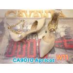 รองเท้าคัทชู ส้นเตี้ย สวยหรู รัดข้อสายโซ่ทองแต่งมุก เก๋ไม่เหมือนใคร ส้นสูงประมาณ 1.5 นิ้ว แมทสวยได้ทุกชุด (CA9010)