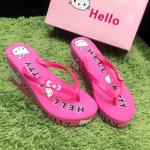 รองเท้าแตะ ส้นเตารีด สุดน่ารัก สาวก Hello Kitty จับจองกันได้เลย แบบหนีบ ส้นโฟม โฟมเนื้อเเน่น สูง 3.5 นิ้ว พื้นนุ่มมากๆ แบบ น่ารัก สุดๆ