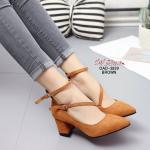 รองเท้าคัทชู ส้นสูง หัวแหลม รัดข้อ วัสดุผ้าสักหราดสวยปราดเปรียว แต่งสายคาดหน้าเฉียง ทรงเก็บหน้าเท้าดูเท้าเรียว แมทเข้ากับชุดไหน ก็ดูดี สูง 2.5 นิ้ว สีน้ำตาล เทา (OAD-3839)