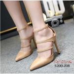 รองเท้าแฟชั่น ส้นสูง รัดข้อ สวยปราดเปรียว วัสดุผ้าสักหราด ดีไซน์ คาดหน้า 2 เส้นยางยืด ให้ลุคสาวเปรี้ยวเซ็กซี่ แมทสวยได้เกินใคร สีดำ ครีม แดง สูง 4 นิ้ว (S200-208)
