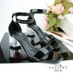 รองเท้าแฟชั่น STYLE LOUIS VUITTION ทรงสวย ใส่ได้ตลอด หนังแก้วเงานิ่ม เเบบสวม สายคาดเก็บหน้าเท้าดีมาก รัดข้อ ปิดส้น ส้นใหญ่เก๋เวอร์ เรียบหรูดู สูง 2 นิ้ว (G12-34)