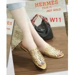รองเท้าแตะแฟชั่น แบบสวม แต่งหนังฉลุลายกราฟฟิคสวยเก๋สไตล์แอร์เมส หนังนิ่ม ทรงสวย ใส่สบาย แมทสวยได้ทุกชุด (J327)