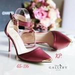 รองเท้าคัทชู ส้นสูง งานสไตล์ zara สวยหรู ทรงปลายเเหลม หุ้มอะไหล่โลหะสี ทอง เเบบปิดส้นรัดข้อเท้า ไฮโซเซ๊กซี่มาก สูง 3.5 นิ้ว (G5116)