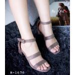 รองเท้าแฟชั่น สวยเก๋ แบบสวมคาดด้านหน้า รัดข้อ หนังสักหราดสวย ดีไซน์เก๋ ส้นตัด สูงประมาณ 2 นิ้ว แมทสวยได้ทุกชุด สีชมพู ดำ เทา ครีม (h-1676)