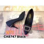 รองเท้าคัทชู ส้นสูง แต่งอะไหล่เพชรหรูด้านหน้า ทรงสวยเพรียว หนังสวยนิ่มอย่างดี ส้นสูงประมาณ 3 นิ้ว ใส่สบาย แมทสวยได้ทุกชุด (CA8747)