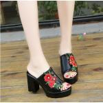 รองเท้าแฟชั่น แบบสวม ส้นสูง วัสดุหนัง PU นุ่ม ปักดอกไม้สีสดใส ใส่สบายเก็บเท้าเรียวสวย ส้นสูง 10 cm เสริมหน้า 2.5 cm ใส่สบาย แมทสวยได้ทุกชุด (511)