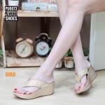 รองเท้าแฟชั่น ส้นเตารีด แบบหนีบ แต่งเพชรคลิสตัลสวยหรู ทรงสวย ใส่สบาย แมทสวยได้ทุกชุด (PU6073)
