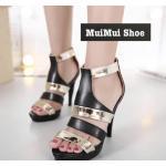 รองเท้าส้นสูง แบบหรูเริ่ด สลับทูโทนสีเมทาลิคทองสวยโดดเด่น หนังสวยนิ่ม ซิปหลังใส่ง่าย ใส่สบายเท้า ส้นสูง 4.5 นิ้ว