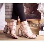 รองเท้าแฟชั่น ส้นสูง รัดข้อ VALENTINO style ส้นสูงหนา เปิดหน้า รุ่นสุดฮิต หนังอย่างดี collection นี้ ใส่สวยดูดี งานแต่งอะไหล่หมุดทอง สายรัดข้อเท้า 2 step งานสวยชนช้อป ทรงนี้ใส่สวย ดูเท้าเรียวเล็ก ใส่แมทชุดได้ง่าย พื้นนิ่มอย่างดี สวยเก๋ดูดีเป๊ะปัง สูง 3 นิ