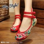 รองเท้าผ้าปัก ลายจีน hot hit อินเทรนด์ ผ้าอย่างดีนิ่มสบาย ลายปักสวยงานละเอียด แบบรัดข้อ พื้นเสริมยางพารานิ่ม ทน พื้นเสริมด้านในสูง 3.5 cm. แมทกับชุดไหนก็เก๋ สุดๆ สีดำ แดง เขียว
